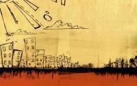 cityscapes,comics cityscapes comics orange retro drawings drawn 1440x900 wallpaper – Orange Wallpaper – Free Desktop Wallpaper