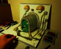 3D Illusion Sketchbook Drawings by Nagai Hideyuki | Colossal