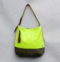 MADEBYHANK — --S O L D-- neon yellow + pavement grey two-tone shoulder bag