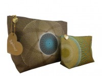 Magpie. Design with a British edge: Spiral Grey & Yellow make up bag twin set