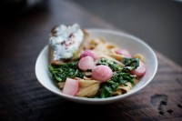 Fettuccine, Radish and Greens + Pink Peppercorn Toast « sundaysuppers