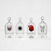 Brain in a Jar Hand Blown Glass Miniature Anatomically by kivaford