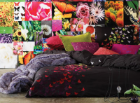bedrooms - Aura Home purple bed collage magenta lime orange pillows black Thanks to DTI and Aura. LOVE all the color! colorful throw pillows,