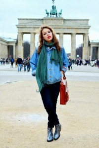 Jam's strawberries / Shop this look on Kaleidoscope (boots, jacket, scarf, bag, jeans) http://kalei.do/Vu1vngMXlwoU77AZ