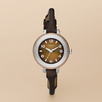 FOSSIL® Watches Delicate Watches:Womens Ultra Slim Brown Dial Watch AM4353