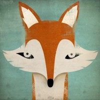 Mister Fox GRAPHIC ART Illustration 7x7 giclee by nativevermont