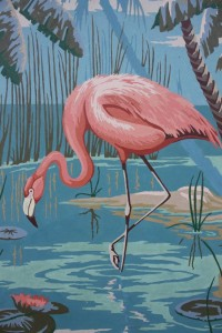 Vintage Paint By Number Flamingo Large 22 x 18 by cybersenora