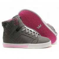 supra skytop high top pink grey suede for women,cheap supra skytop grey suede women sneakers