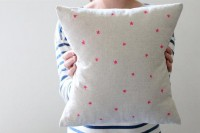 Hand Printed Linen Cushion Cover Neon Pink Twinkle by hellomilky