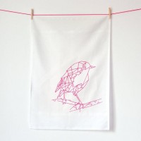 Robyn neon pink / Cotton tea towel / Screen printed by oelwein
