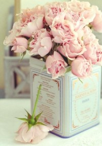 roses in a vintage tin box - morning breeze
