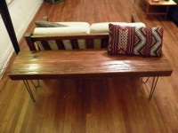 Reclaimed Wood Bench with Hairpin Legs by appendageandbough