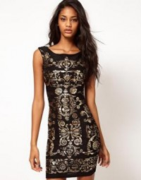 Lipsy | Lipsy Crinkle Foil Bodycon Dress at ASOS