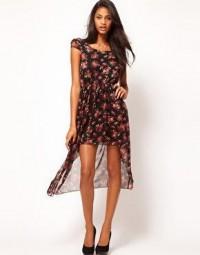 Rare | Rare Chiffon Rose Print Hi Lo Dress at ASOS