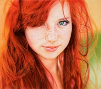 Redhead Girl - Ballpoint Pen by =VianaArts