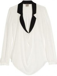 7. Haute Hippe Two-Tone Silk-Chiffon Top