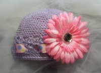 Light Purple Kufi HatColored Dot Ribbon by divaladybugbowtique