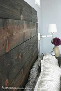 headboard made from 2x4's and stained. each is individually drilled into the wall.