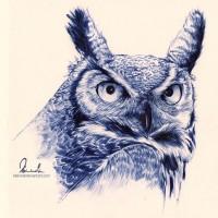 Ballpoint Pen Owl by =kleinmeli