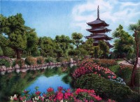 Palace garden in Kyoto, Japan, Bic Ballpoint Pen by =VianaArts