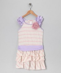 Pink Stripe Angel-Sleeve Dress - Girls | Daily deals for moms, babies and kids