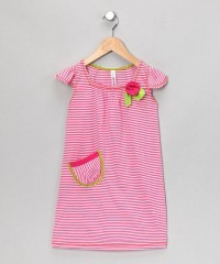 Pink Stripe Angel-Sleeve Dress - Toddler & Girls | Daily deals for moms, babies and kids