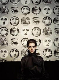 "Image Spark - Image tagged ""anne hathaway with prints by italian artist fornasetti"", ""photographed by kurt iswarienko"", ""wallpaper"" - Tarum"