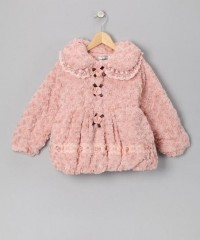 Pink Rose & Pearl Faux Fur Coat - Girls | Daily deals for moms, babies and kids