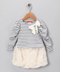 White Heather Gray Stripe Top & Skirt - Toddler & Girls | Daily deals for moms, babies and kids