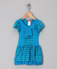 Teal Ruffle Bow Dress - Toddler & Girls | Daily deals for moms, babies and kids