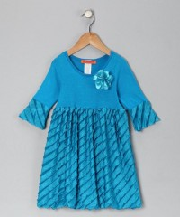 Blue Flower Ruffle Dress - Toddler & Girls | Daily deals for moms, babies and kids