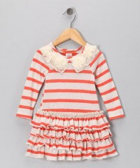 Orange Stripe Ruffle Dress - Toddler & Girls | Daily deals for moms, babies and kids