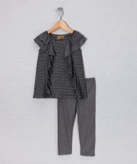 Gray Ruffle Stripe Tunic & Leggings - Infant | Daily deals for moms, babies and kids