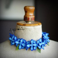Blue with olive - naszyjnik - FlowerFeltDesign - Obro?e - Naszyjniki - DaWanda