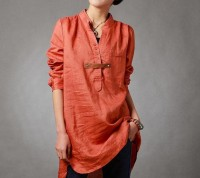 Spring orange shirt linen asymmetric long sleeved shirt by MaLieb