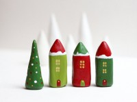 Christmas clay houses Little winter village with 3 by rodica