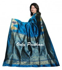 Peacock blue Kanjeevaram with temple border - Craftsia - Indian Handmade Products & Gifts