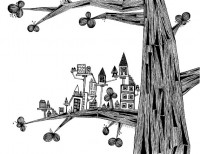 Black and White Ink Pen Drawing The Tree With by sometimesiswirl