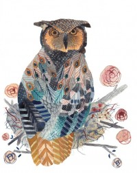 Great Horned Owl Archival Print by unitedthread on Etsy