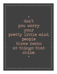 Don't worry your pretty little mind, people throw rocks at things that shine.