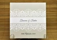 New Dawn Square Vertical Invitation in Taupe - Wedding Invitations