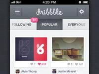Dribbble iPhone App by Cole Bemis