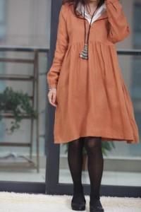 Double layer collar linen dress knee length dress by MaLieb
