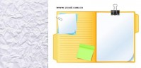 The White very wrinkled paper with notes vector material | Download free Vector