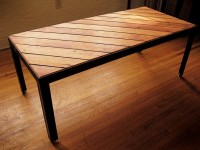 SLANT coffee table gorgeous reclaimed wood door HawkAndStone