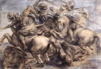 The Battle of Anghiari (detail) 1503-05 Leonardo Da Vinci | Oil Painting Reproduction | 1st-Art-Gallery.com