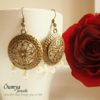 Antique Brass Round earrings - Craftsia - Indian Handmade Products & Gifts
