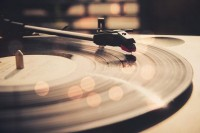 Music Player warm bokeh version Black and white by BasicDesign