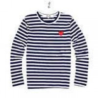 CDG Play Comme Des Garcons Red Heart Blue White Stripes Long Sleeve S | eBay