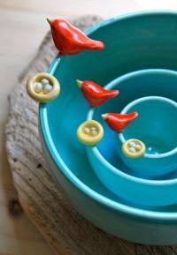 CustomMade Pottery Bird & Nest Nesting Bowls 46 by tashamckelvey